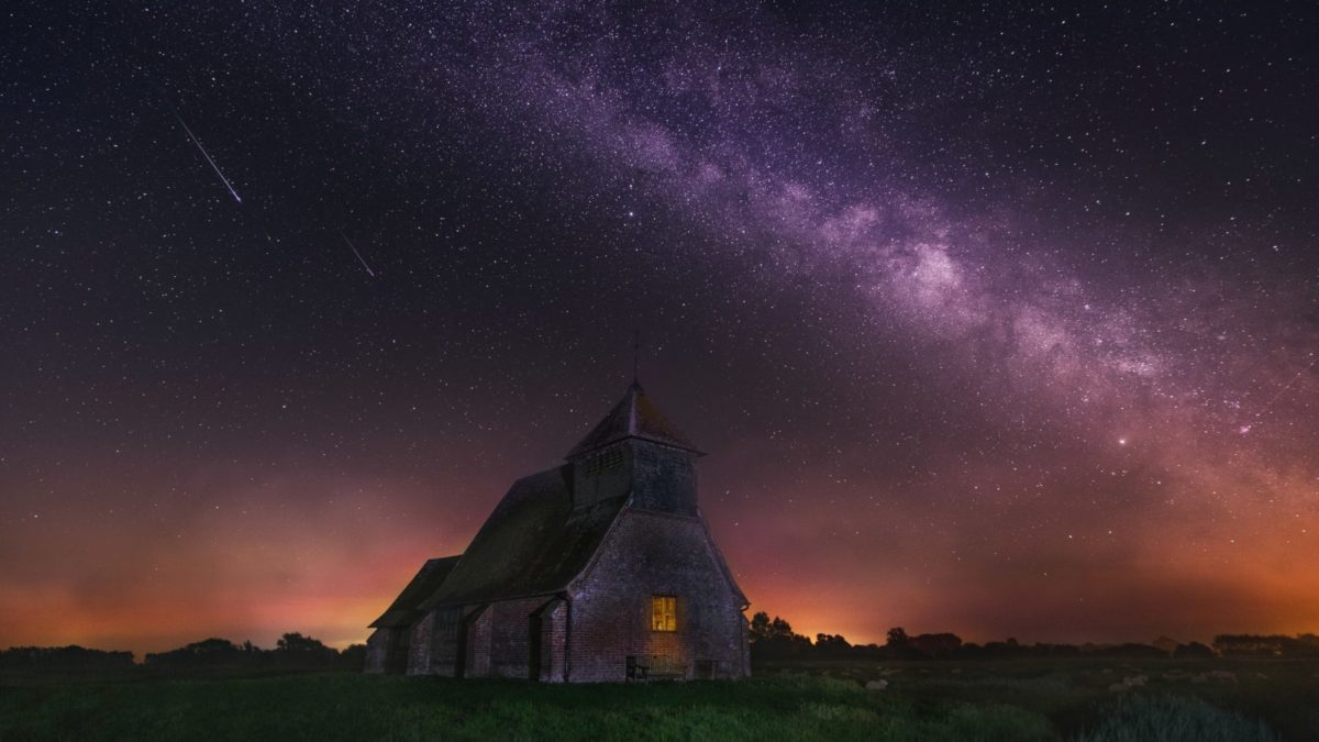 Milky Way photography above concrete building
